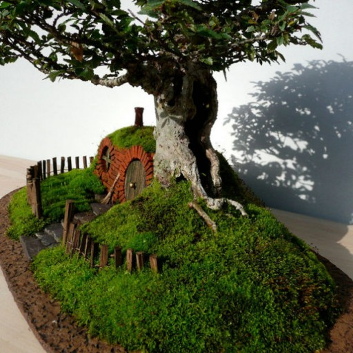 How to make DIY baggins bonsai hobbit home 5