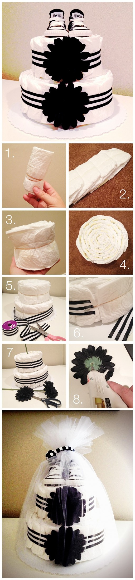 How to make DIY diaper cake step by step DIY tutorial instructions
