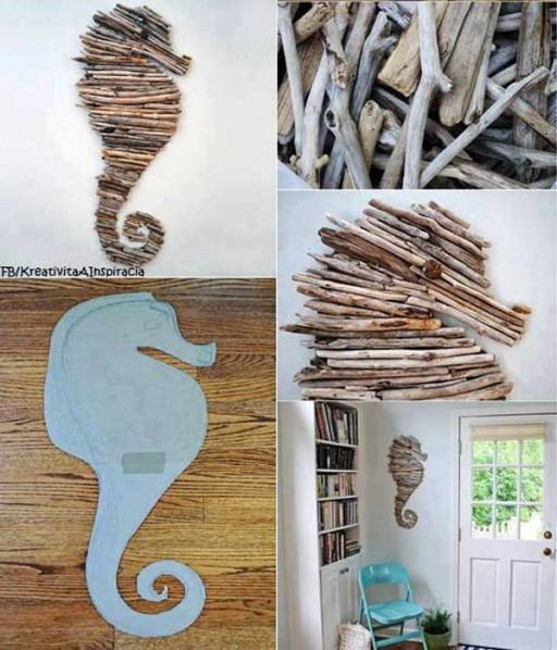How to make DIY drift wood seahorse wall decoration step by step DIY tutorial instructions