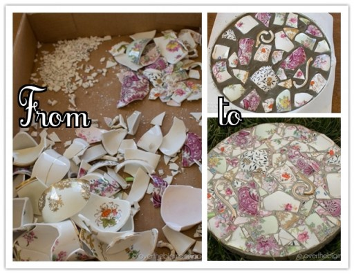 How to make DIY garden stepping stones with broken dishes or China step by step tutorial instructions 1