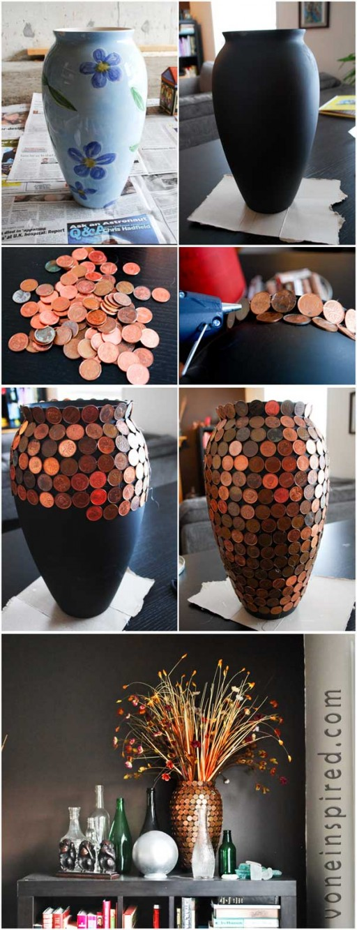 How to make DIY lucky penny vase step by step tutorial instructions 2