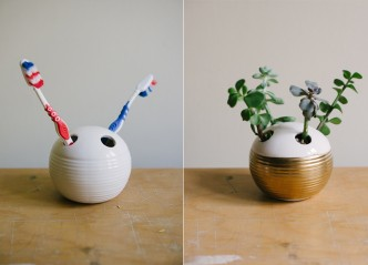 How to make DIY succulent planter from toothbrush holder step by step tutorial instructions