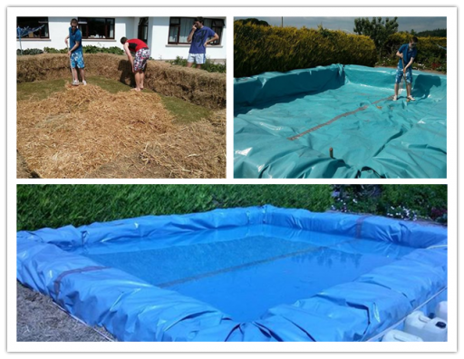 Diy swimming pool from bales of hay how to instructions for Diy small pool