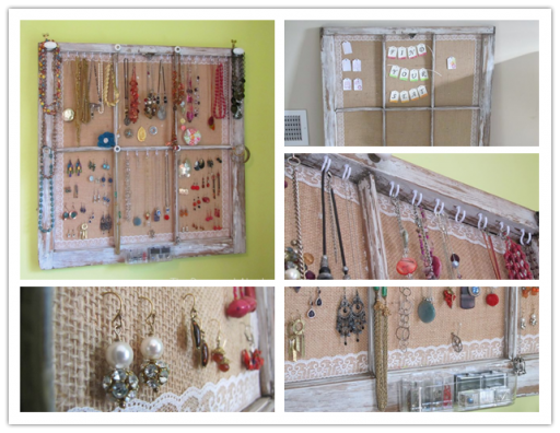 How to turn an old window into a cute jewelry organizer step by step DIY tutorial instructions