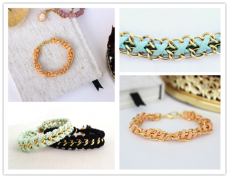 DIY Spiral Chain And Suede Bracelet Tutorial 1