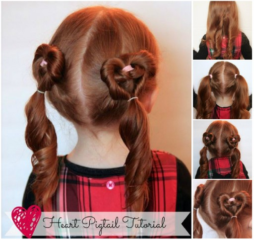 Cute Heart Pigtails Hair Style | DIY Beauty and Ideas