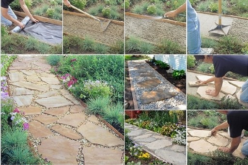 How to make flagstone garden path step by step diy for Easy garden path ideas
