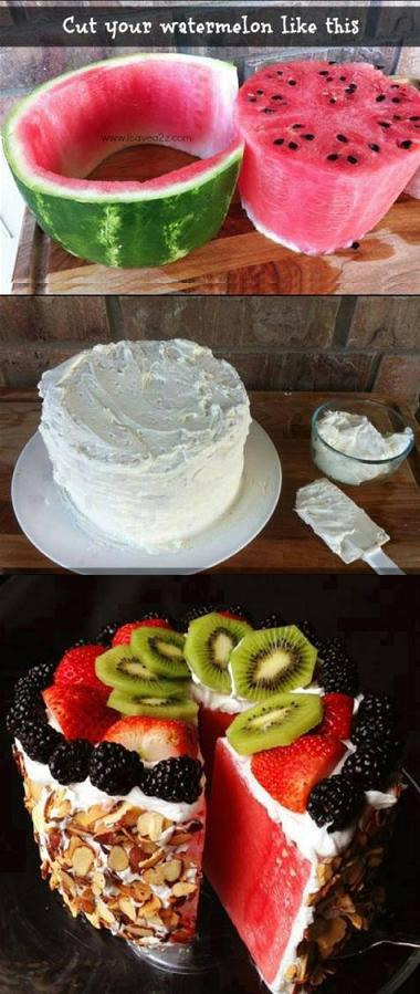 How To Make No Bake WaterMelon Cake Step By Step DIY Tutorial Instructions 2