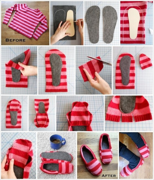 How To Turn An Old Sweater Into A Pair Of Slippers 2
