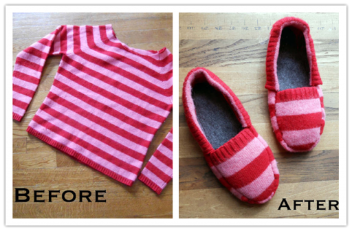 How To Turn An Old Sweater Into A Pair Of Slippers