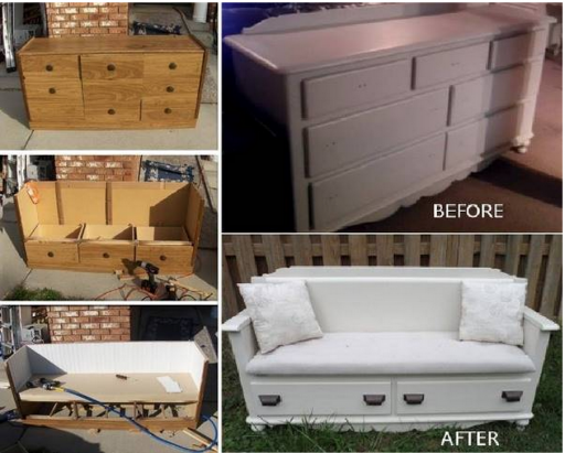 How To Upcycle An Old Dresser Into A Bench Step By Step DIY Tutorial Instructions