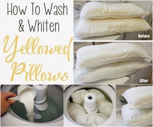 How To Wash And Whiten Yellowed Pillows Step By Step DIY Tutorial Instructions