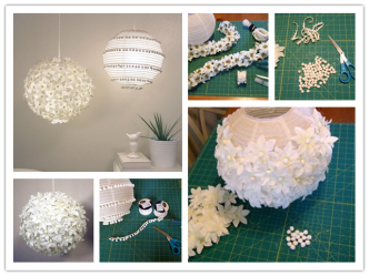 How To Decorate Flower & Pom Pom Paper Lantern Step By Step DIY Tutorial Instructions