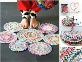 How To Make Fabric Twine Spiral Mat Step By Step DIY Tutorial Instructions