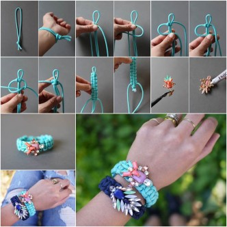 How To Make Jeweled paracord bracelet Step By Step DIY Tutorial Instructions