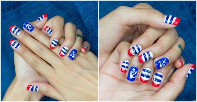 Nautical manicure sailors nail art design how to instructions nautical manicure sailor this blue red nail design prinsesfo Image collections