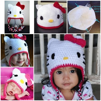 How To Crochet Cute Hello Kitty Hat Step By Step DIY Tutorial Instructions