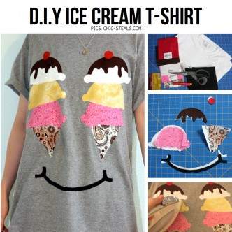 How To Make An Adorable Ice Cream Tee Shirt Step By Step DIY Tutorial Instructions