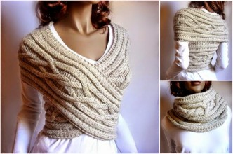 How To Make Cable Knit Sweater Cowl-Vest Step By Step DIY Tutorial Instructions