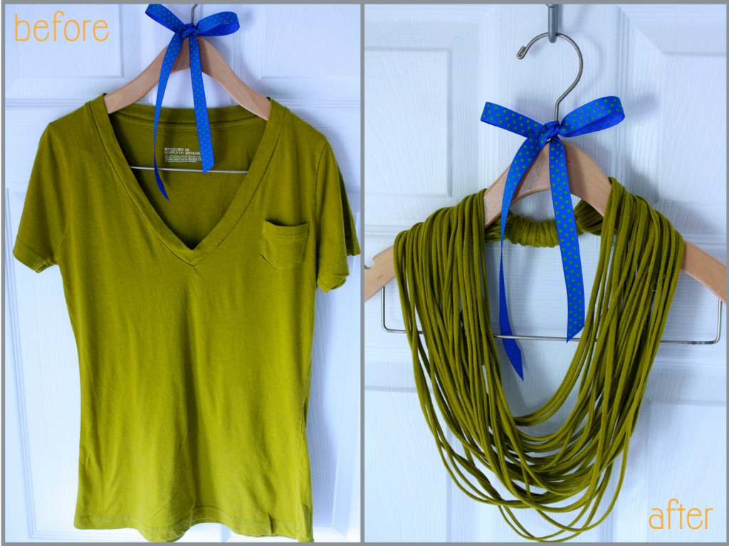 How To Make Easy No Sew T-shirt Necklace Step By Step DIY Tutorial Instructions 1