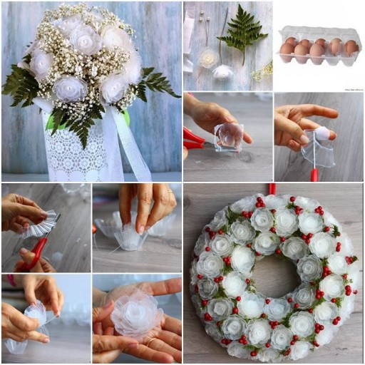 How To Make Flower Bouquet From Recycled Plastic Egg Trays Step By Step DIY Tutorial Instructions