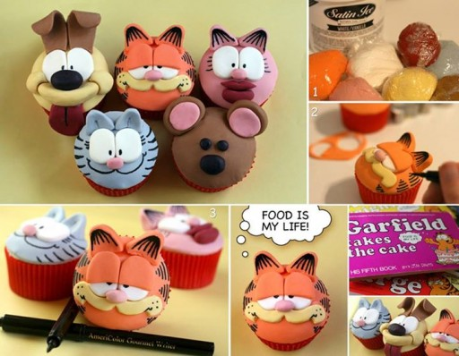 How To Make Garfield Comic Inspired Cupcakes Step By Step DIY Tutorial Instructions