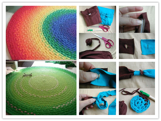 How To Recycle T-shirts Into Rugs Step By Step DIY ...