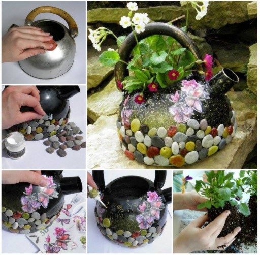 How To Turn Used Kettle Into A Fabulous Planter Step By Step DIY Tutorial Instructions