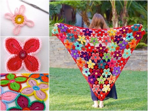 How To Crochet Pretty Flower Motif Shawl