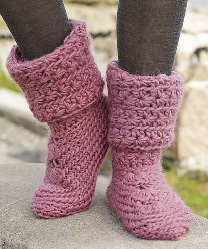 Knitting Pattern Ladies Slipper Boots : How To Knit Women Boots How To Instructions