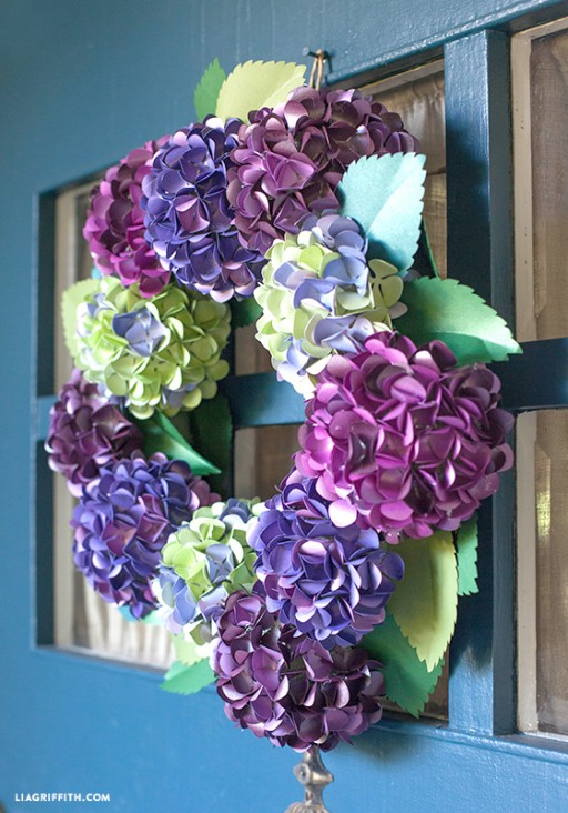 How To Make DIY Paper Hydrangea Wreath 2