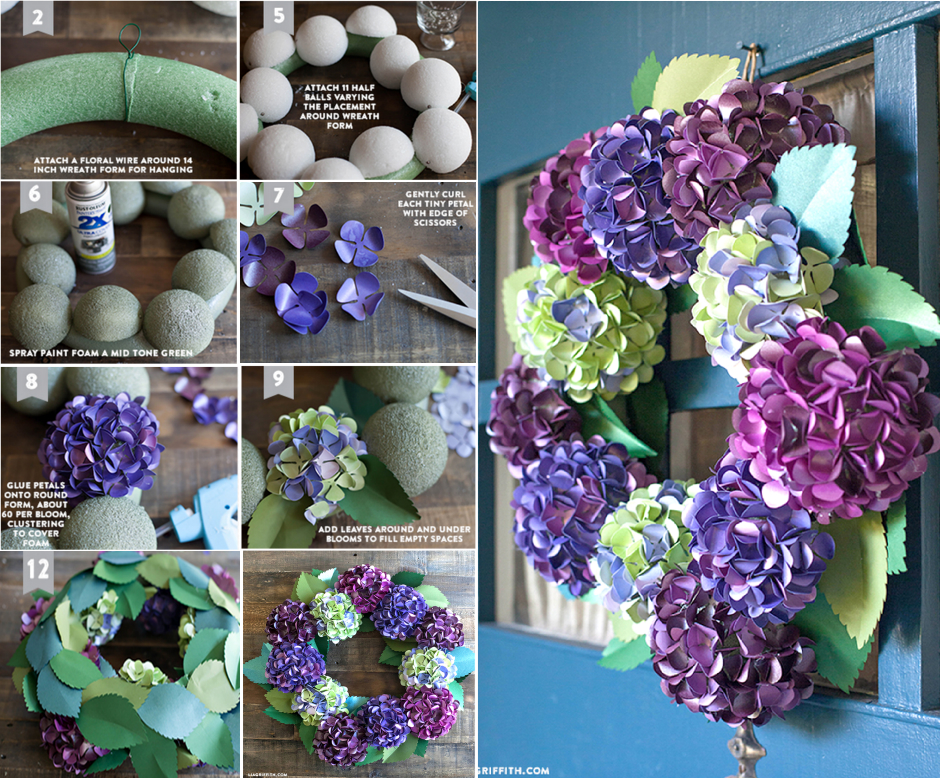 How To Make Diy Paper Hydrangea Wreath How To Instructions