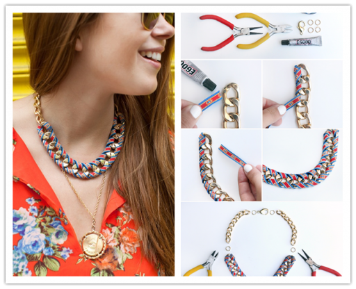 How To Make DIY Ribbon Wrapped Chian Necklace