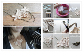 How To Make DIY Tea Dyed Venise Lace Necklace