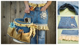 How To Repurpose Old Jeans Into Garden Apron & Tool Caddy