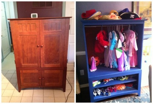 How to turn an entertainment center into a dress up closet - Repeindre vieille armoire ...