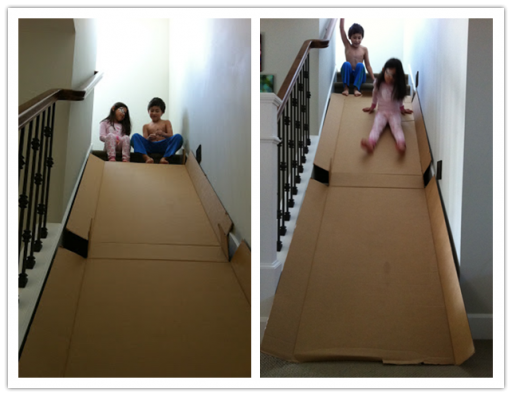 How to make DIY cardboard stair slide for kids