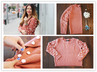 DIY Polka Dot Pom-Pom Sweater
