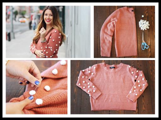DIY Polka Dot Pom-Pom Sweater