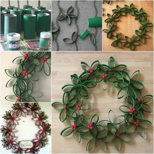 How To Make Toilet Paper Roll Christmas Wreath 1