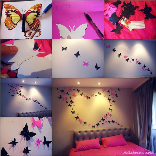 Decorating Paper Crafts For Home Decoration Interior Room: DIY Butterfly Wall Art Tutorial