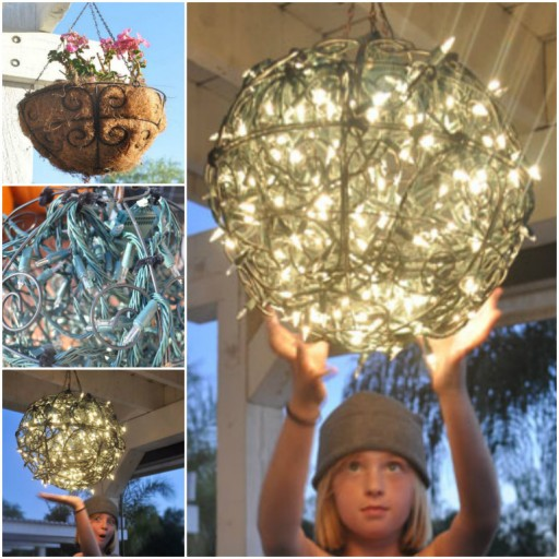 DIY Glowing Garden Basket Chandelier