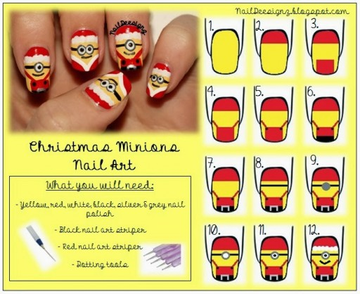 How To Make Christmas Minion Nail Art