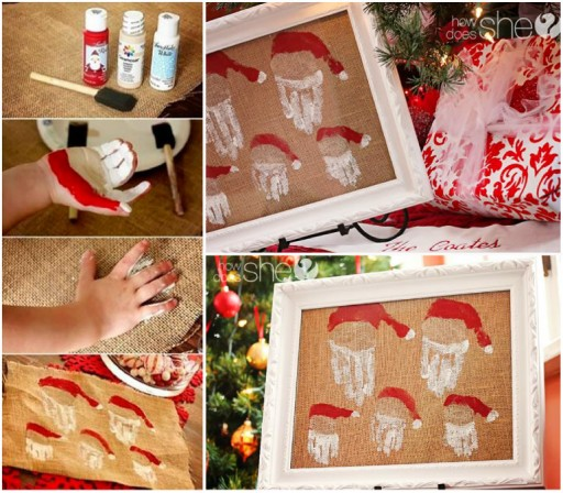 How To Make Family Hands Santa Decoration