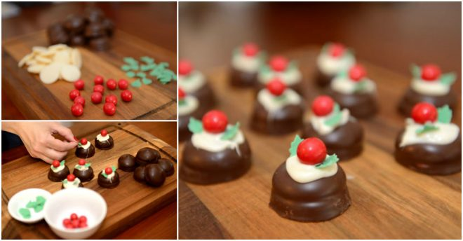 Mini X'mas Chocolate Puddings