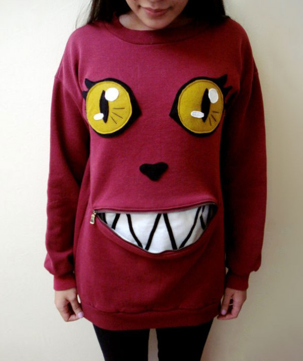 How To Make Awesome Zipper-Mouth cat Sweater 2