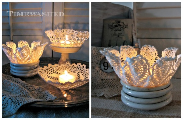How To Make Candle Holders With Lace Doilies