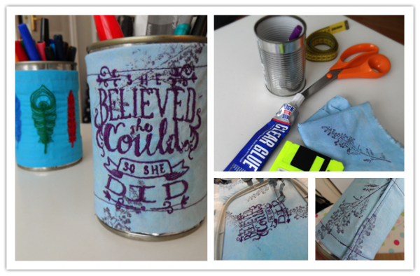 How To Make DIY Desk Organizer From Up-cycled Embroidered Cans
