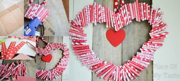 Valentines Day Low Cost Ideas Title And Wm Decorations: How To Make DIY Paper Heart-Shaped Wreath