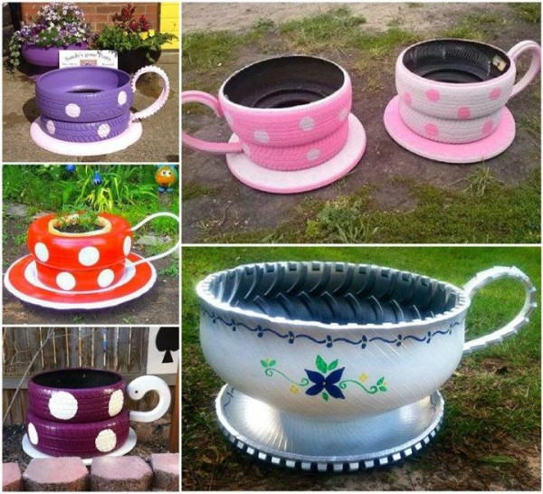 how to make tire teacup garden planters how to instructions